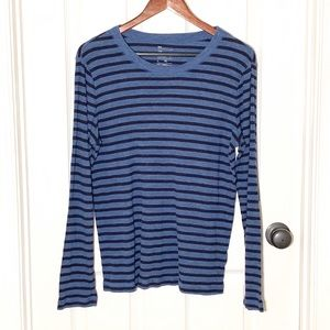 GAP the Bowery Long Sleeve Blue Stripe T Sz XL